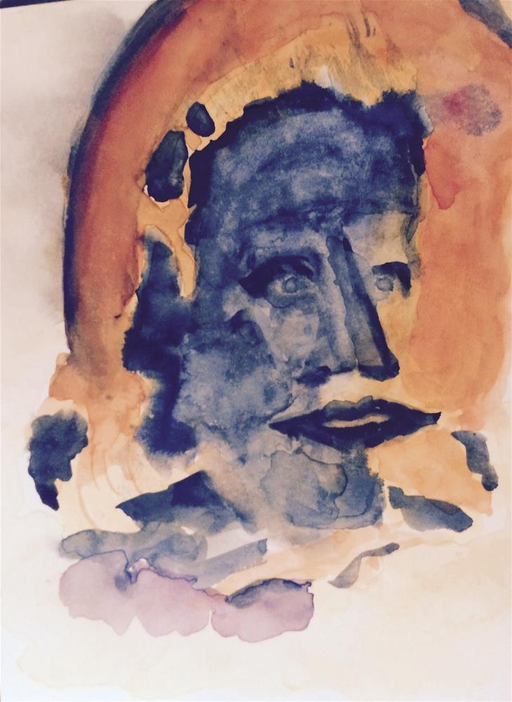 """""""Face on the Wall Watercolor 9 x 6"""" original fine art by Nancy Beard"""