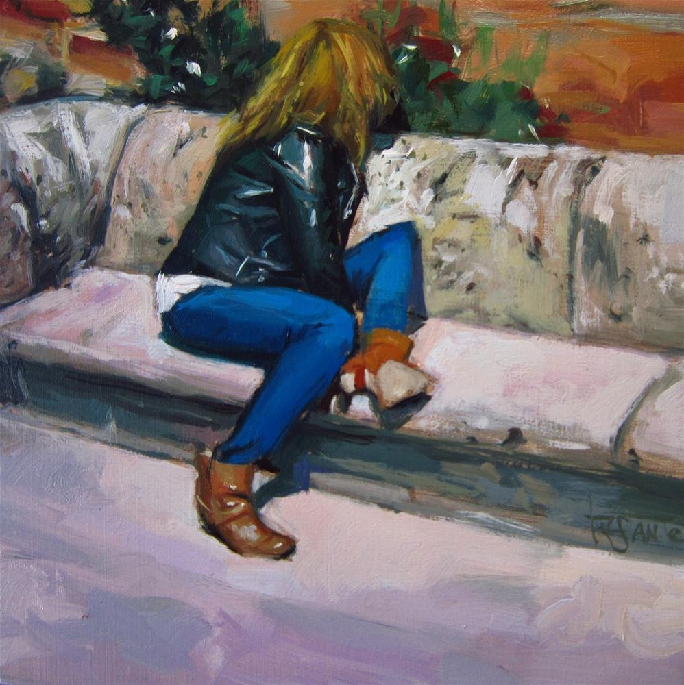 """Sitting on a stone bench"" original fine art by Víctor Tristante"