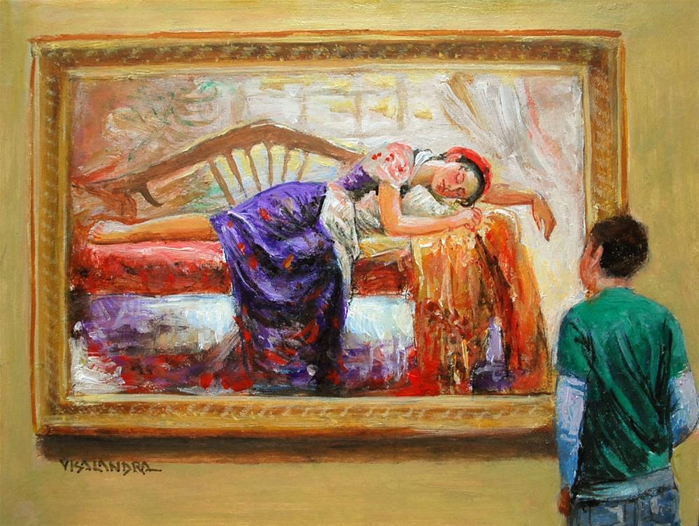 """museum visitor 14"" original fine art by vishalandra dakur"