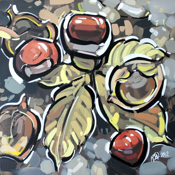 """Horse-chestnut on the ground 2"" original fine art by Roger Akesson"