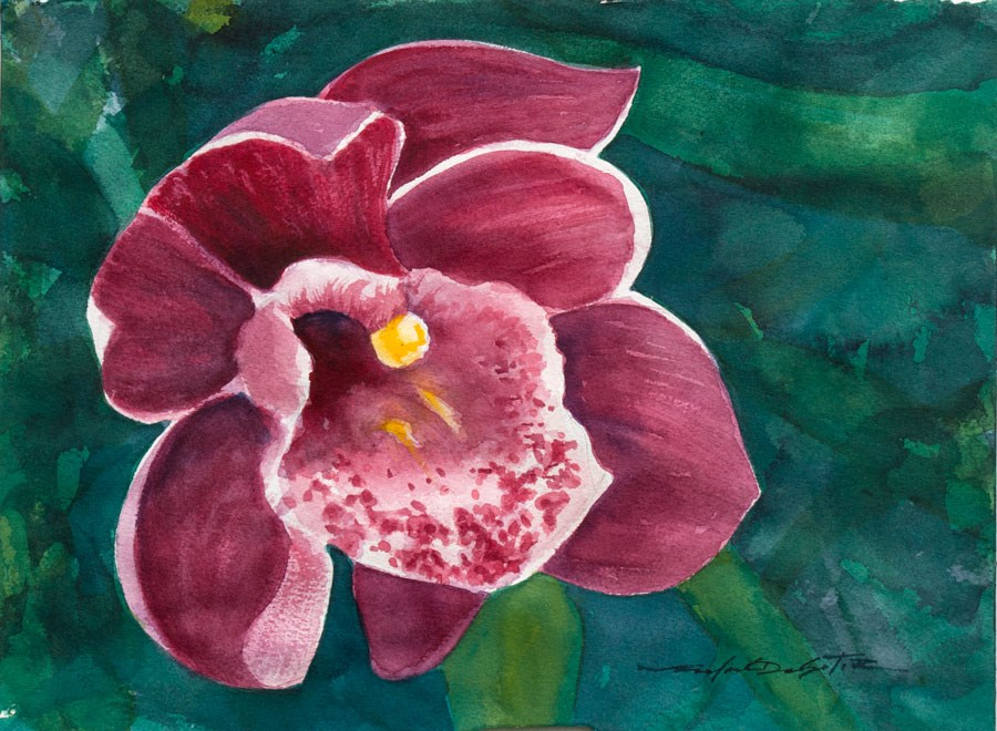 """Red Orchid Study"" original fine art by Rafael DeSoto Jr."
