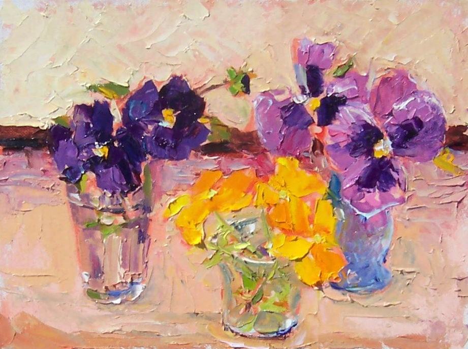 """Summer Pansies,still life,oil on canvas,9x12,priceNFS"" original fine art by Joy Olney"