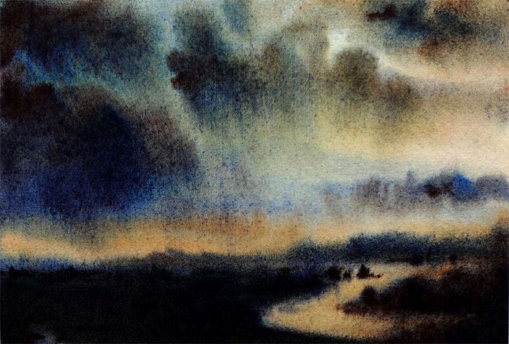 """Storm Over Estuary"" original fine art by Arena Shawn"