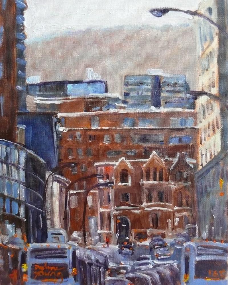 """""""958 Montreal Scene, Rue Guy, oil on board 8x10"""" original fine art by Darlene Young"""