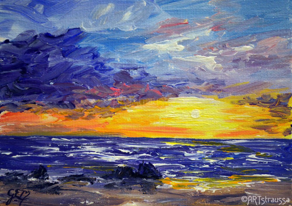 """Maui Sunset"" original fine art by Gloria Ester"