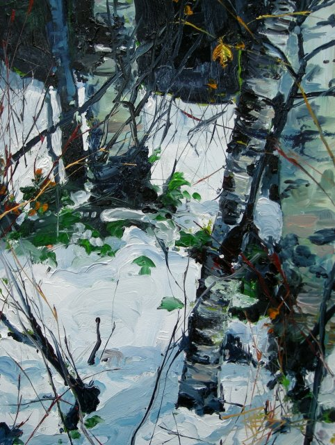 """Alders in Snow 3  landscape, oil painting"" original fine art by Robin Weiss"