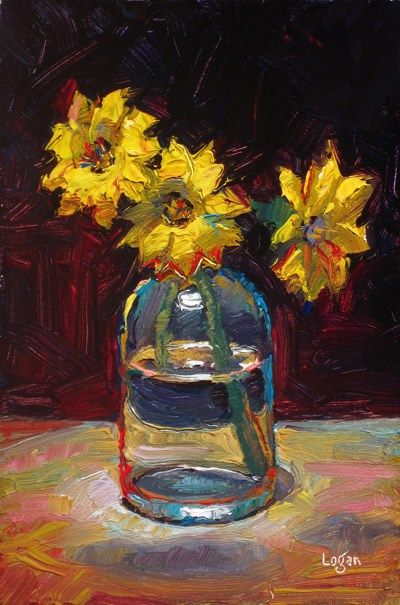 """Yellow Gazanias"" original fine art by Raymond Logan"