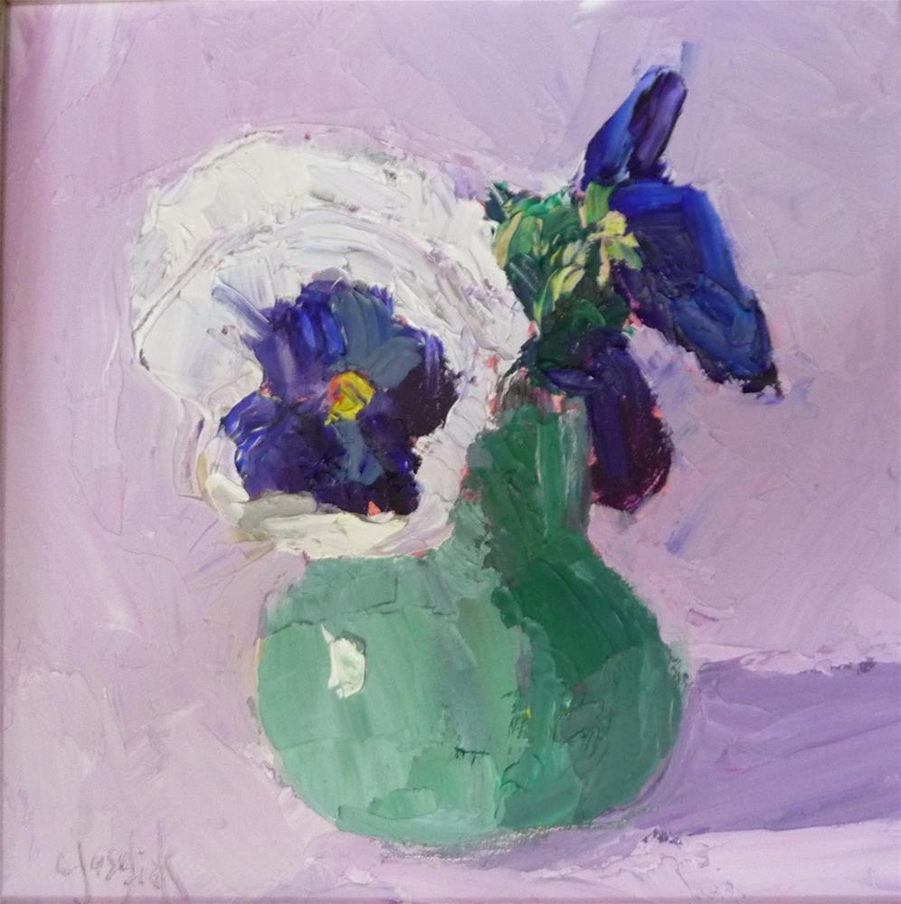 """Purple and White Pansies"" original fine art by Carol Josefiak"