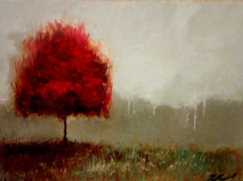 """A Red Tree II"" original fine art by Bob Kimball"