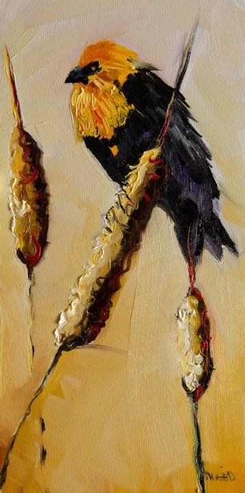 """ARTOUTWEST BLACK BIRD CATTAIL Diane Whitehead Fine art"" original fine art by Diane Whitehead"