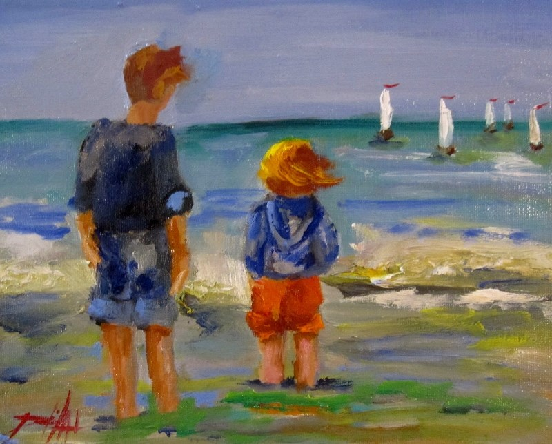 """Watching the Sailboats"" original fine art by Delilah Smith"