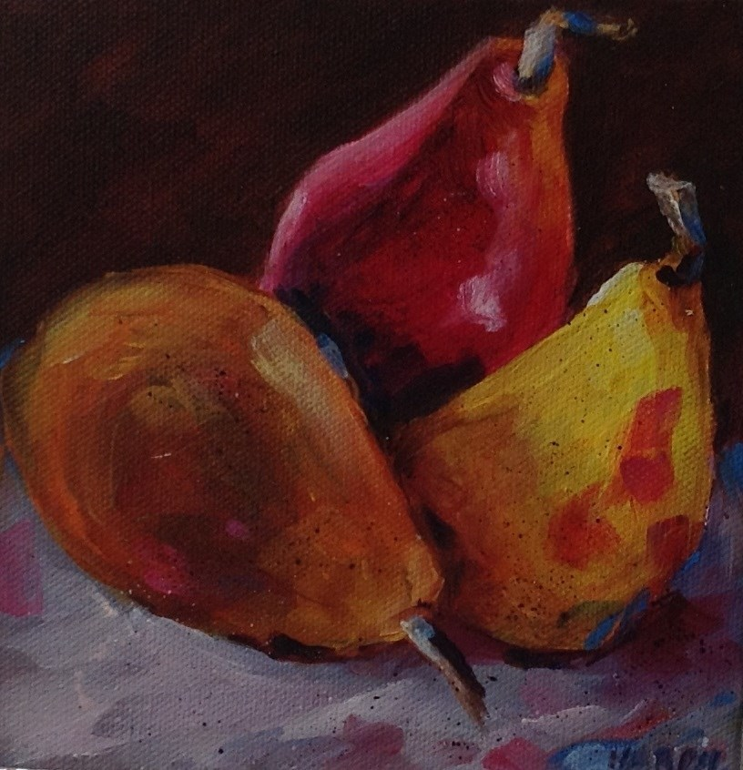"""Original Oil Pear Fruit Food Art Home Decor Painting Kitchen"" original fine art by Alice Harpel"