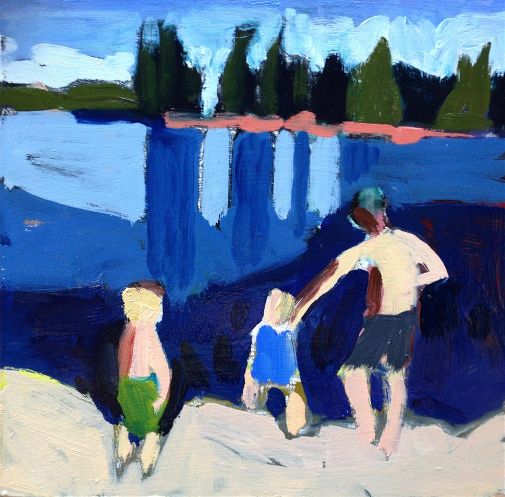 """Lake Time With Daddy"" original fine art by Pamela Hoffmeister"
