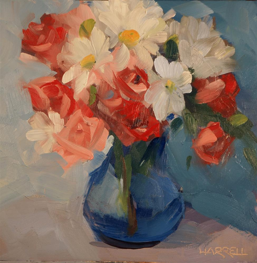 """Florabunda and Daisies"" original fine art by Sue Harrell"