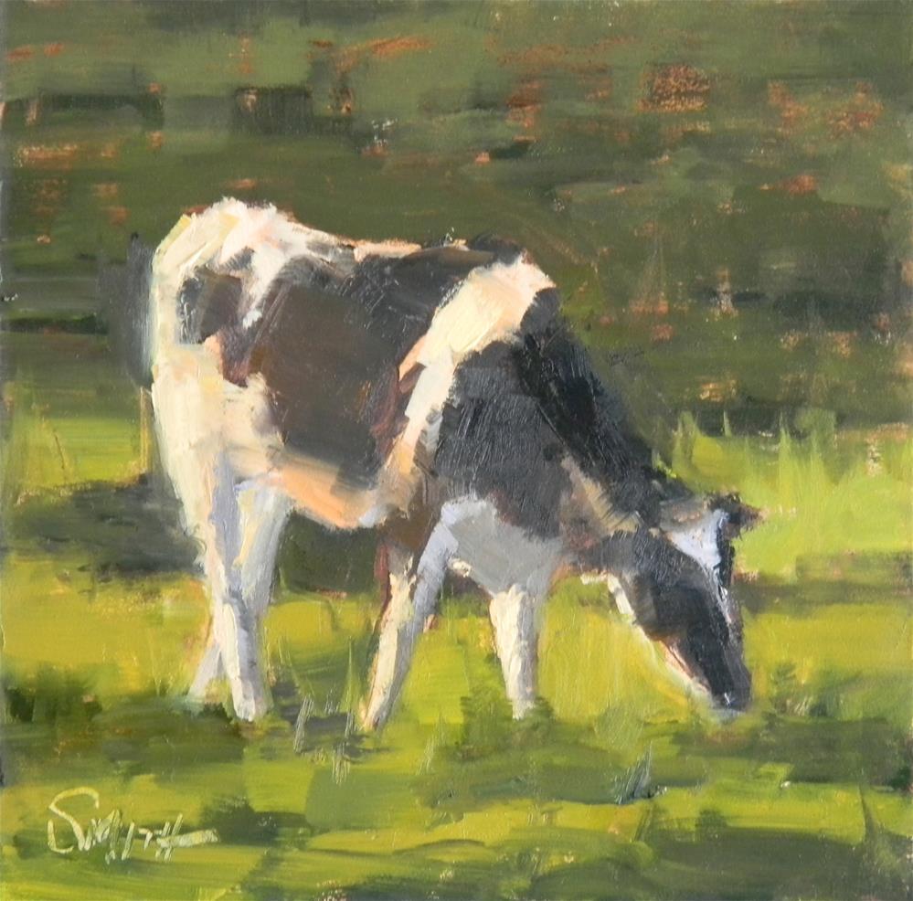"""""""Grazing Cow"""" original fine art by Barbie Smith"""