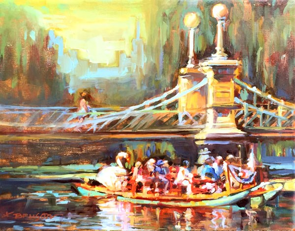 """Swan Boats, Boston Public Garden"" original fine art by Karen Bruson"