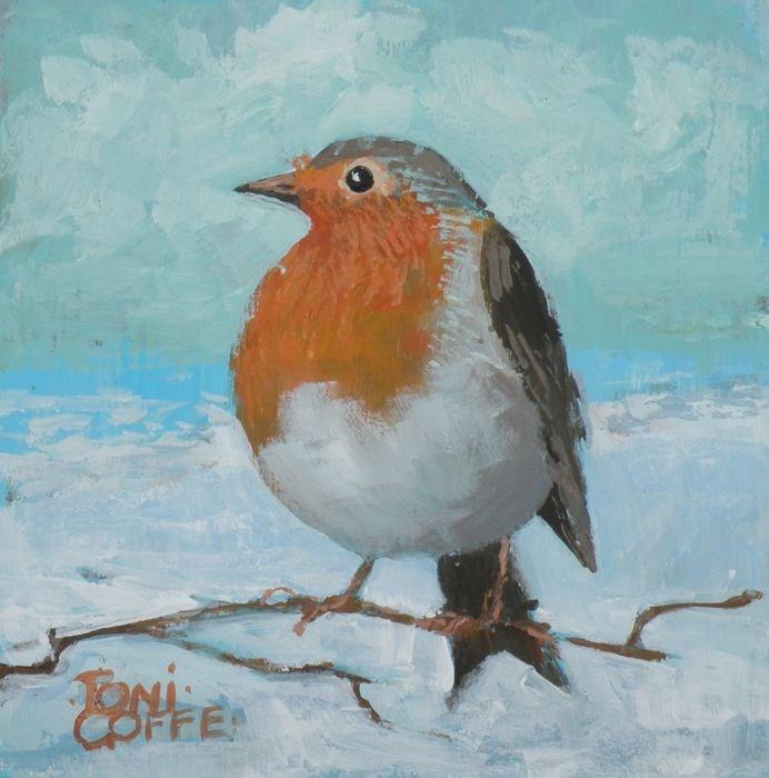 """Robin in Snow"" original fine art by Toni Goffe"