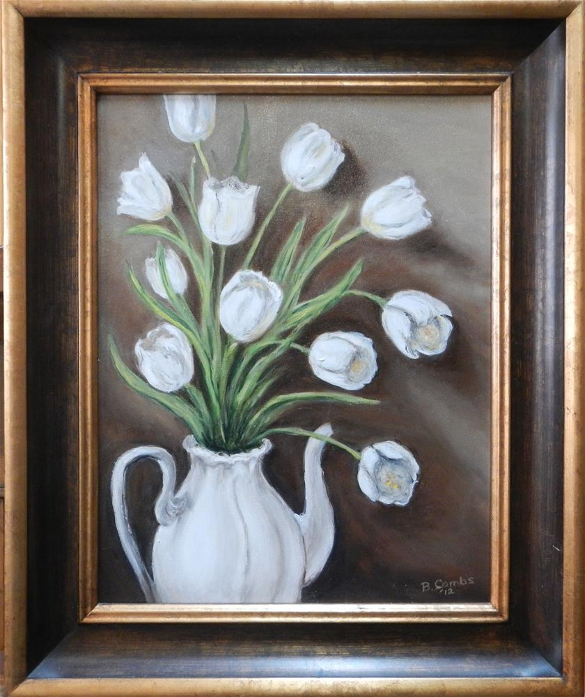 """White Tulips"" original fine art by Bebe Combs"