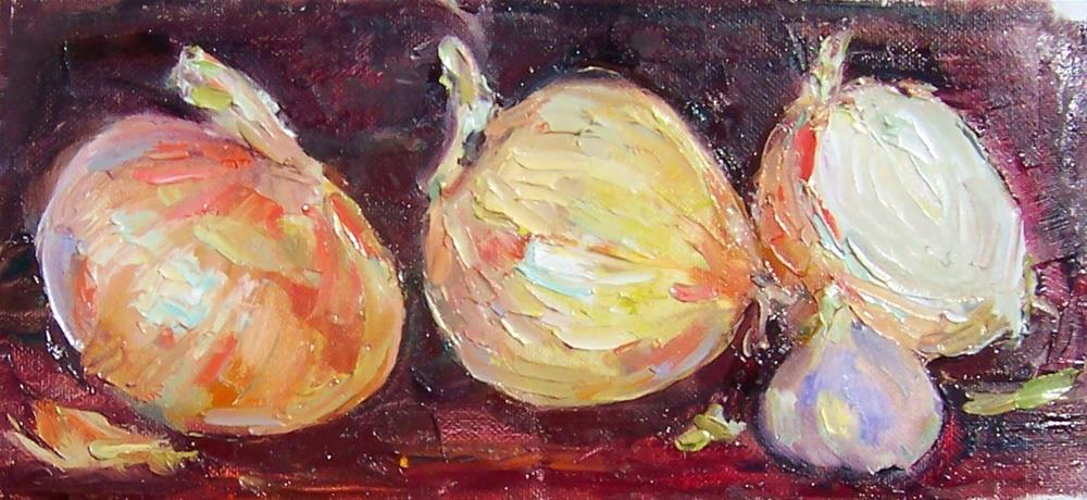 """Garlic with Onions,stilllife,oil on canvas,4x8,priceNFS"" original fine art by Joy Olney"
