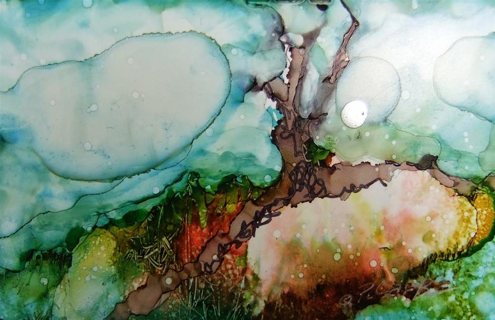 """Peach Earth_3 x 4.75 Ink_Landscape"" original fine art by Donna Pierce-Clark"
