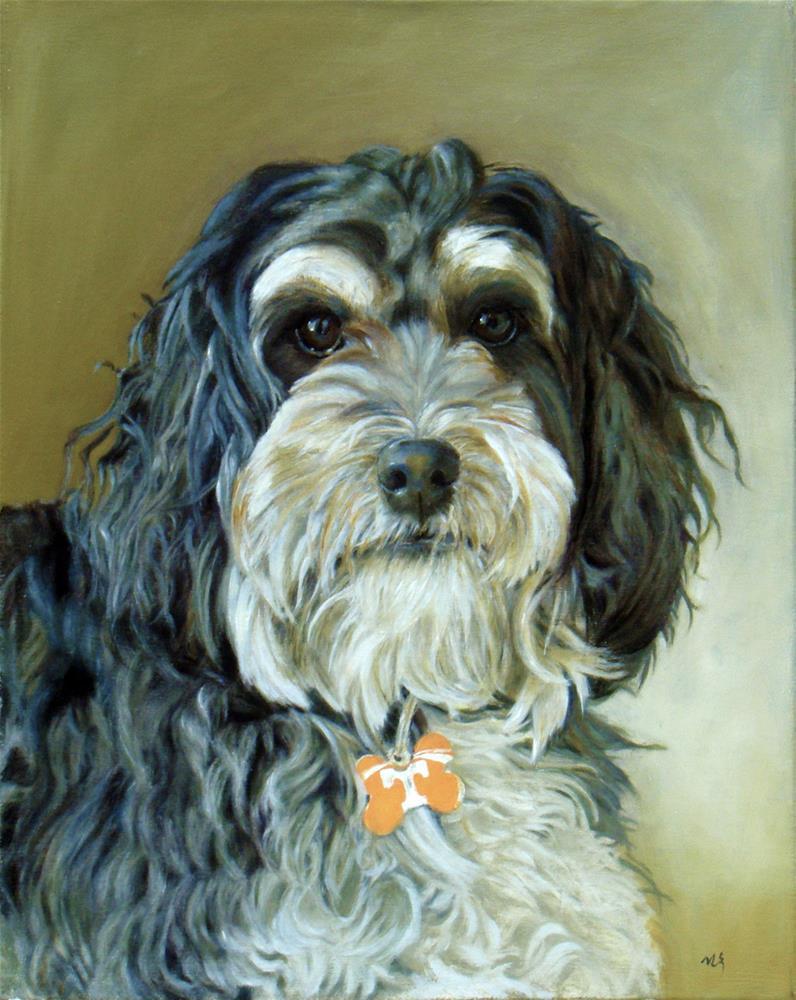 """schnauzer, Poodle portrait"" original fine art by Sun Sohovich"