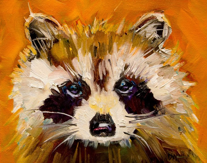 """ARTOUTWEST WOODLAND CREATURE RACCOON ANIMAL ART CRITTERS By Diane Whitehead"" original fine art by Diane Whitehead"