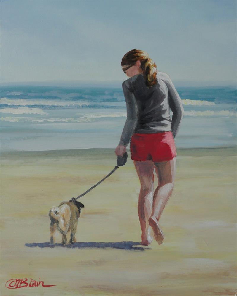 """Dogs on the Beach #2"" original fine art by Christine Blain"
