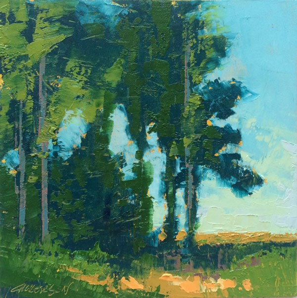 """Pines with Tall Corn"" original fine art by Mary Gilkerson"