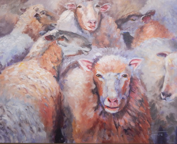 """Before the Shearing"" original fine art by Lina Ferrara"