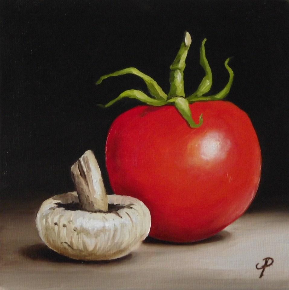 """Tomato & Mushroom"" original fine art by Jane Palmer"