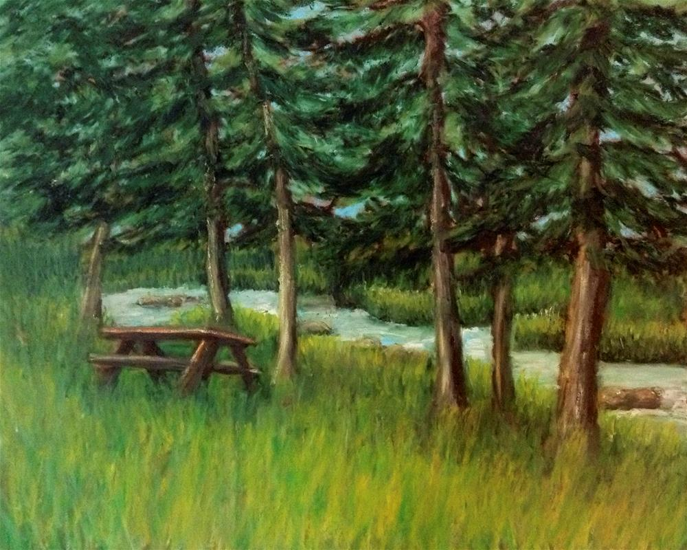 """""""Picnic by the Stream"""" original fine art by Mary McCormick-Wixson"""