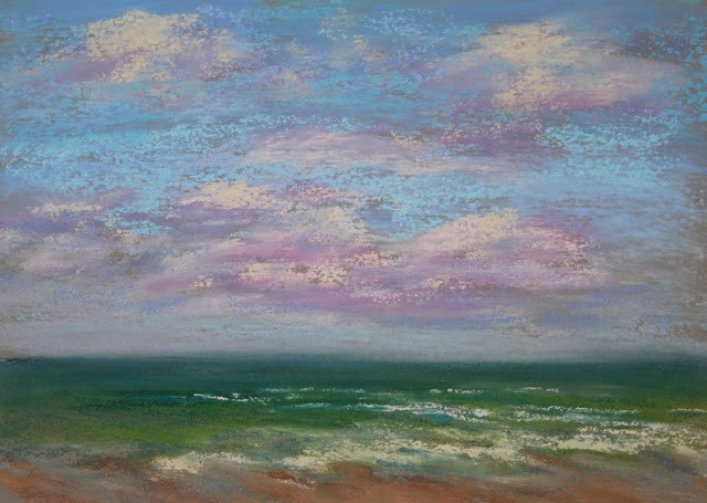"""""""Windy Day at the Beach"""" original fine art by Sharon Lewis"""