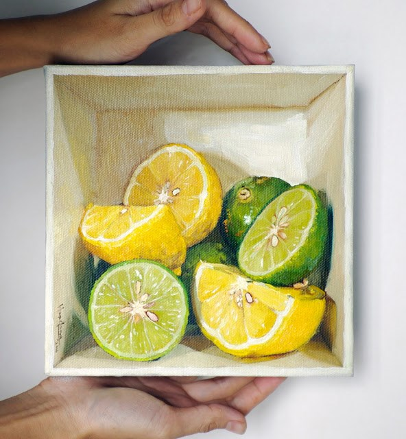 """Lime and Lemon in a box"" original fine art by Haze Long"
