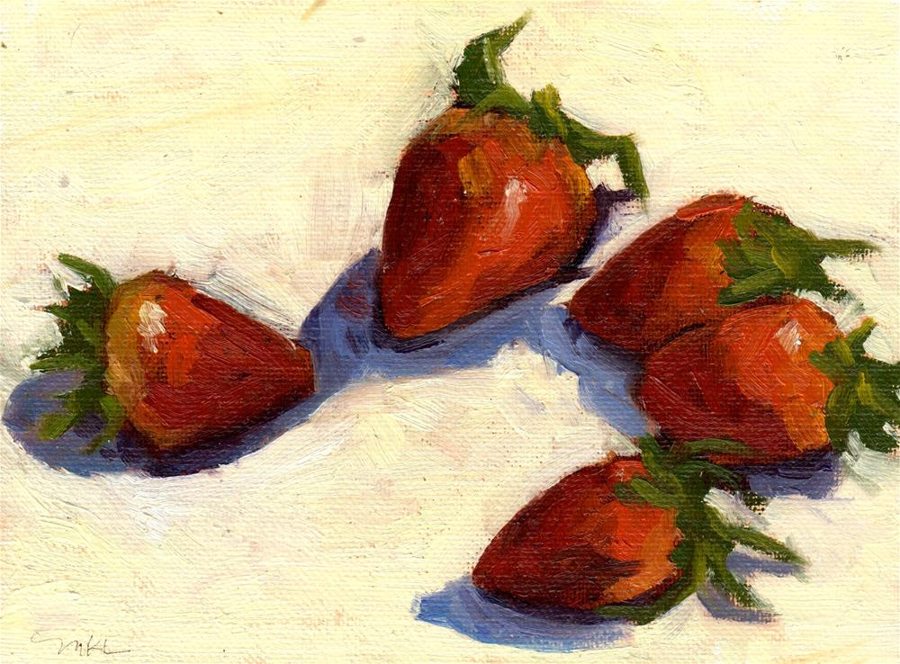 """Strawberries in a Circle"" original fine art by Marlene Lee"