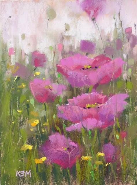 """Mini Demo: Pink Poppy Pastel Painting"" original fine art by Karen Margulis"