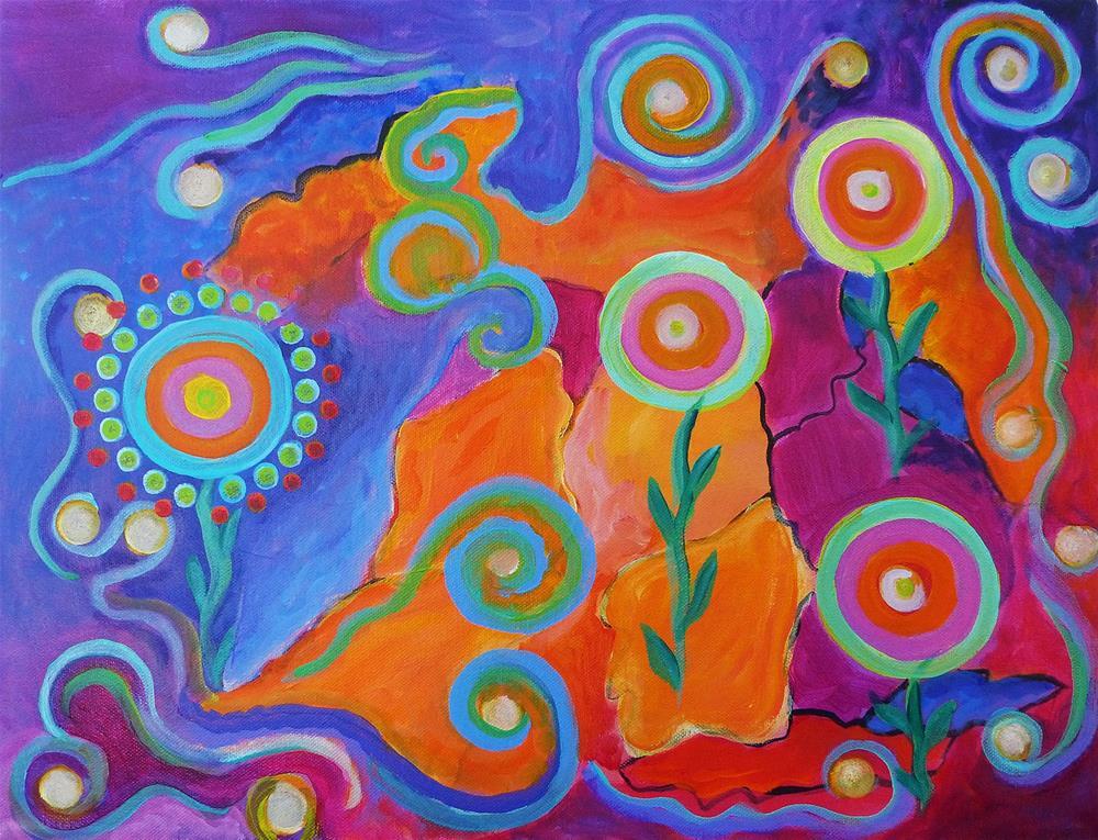 """Abstract Sunset"" original fine art by Susan Bertocci"