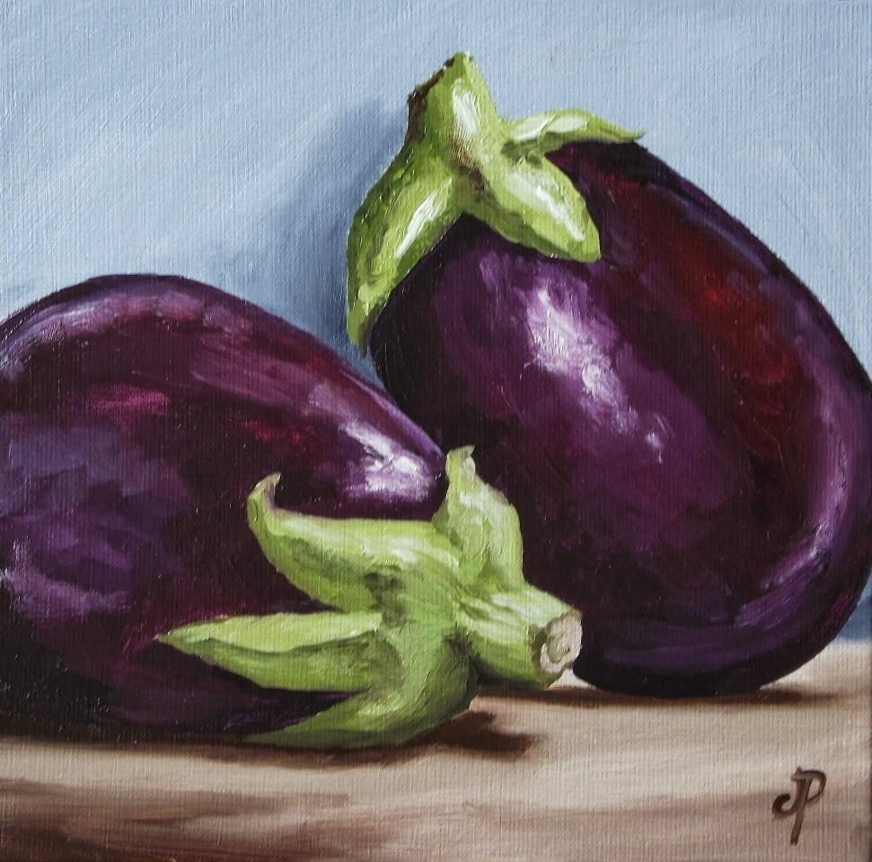 """""""Aubergine pair"""" original fine art by Jane Palmer"""