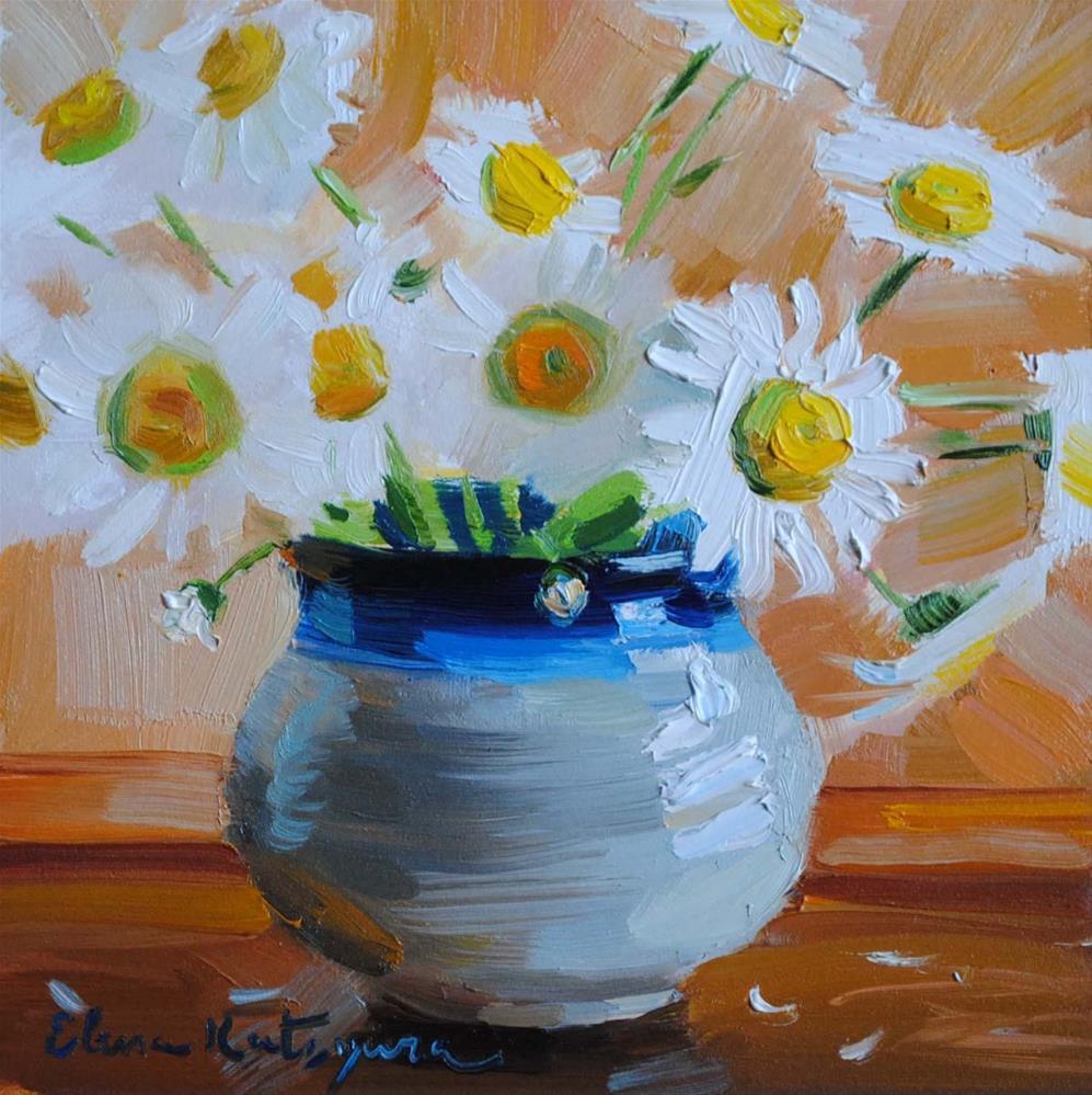 """""""Daisies in a Jar"""" original fine art by Elena Katsyura"""