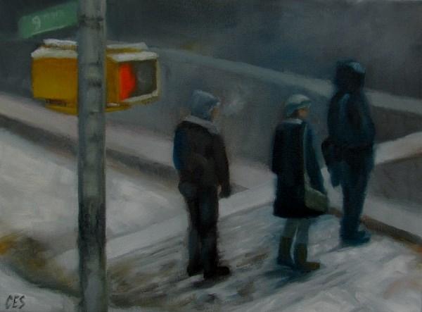 """""""Snowy Pedestrian Crossing"""" original fine art by ~ces~ Christine E. S. Code"""
