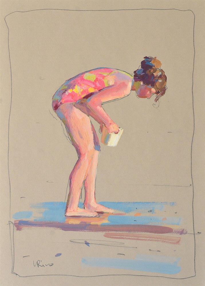"""Girl looking for sea shells"" original fine art by Lena  Rivo"