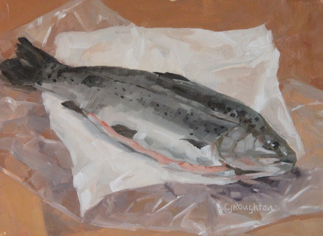 """Trout Dinner"" original fine art by C J Roughton"