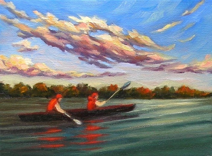 """Sunset Paddling"" original fine art by Irina Beskina"