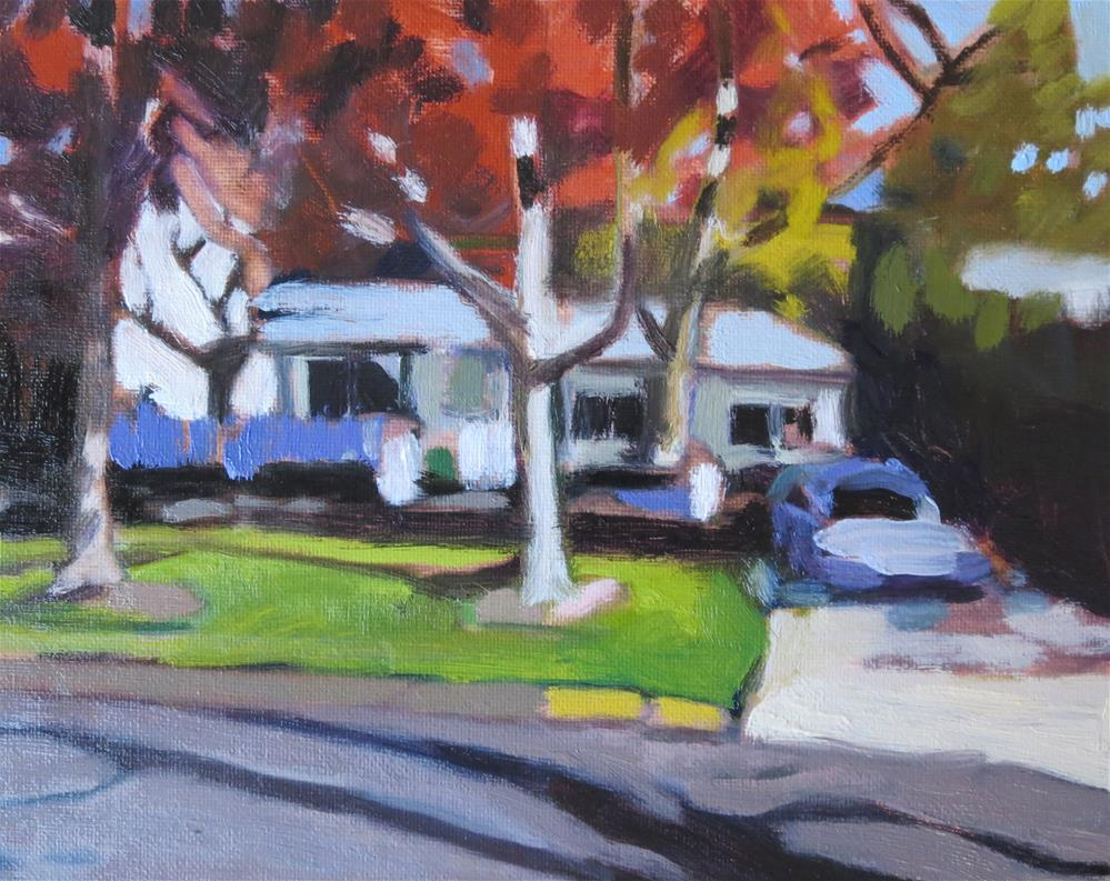 """Autumn Leaves/Yellow Curb"" original fine art by Pamela Hoffmeister"