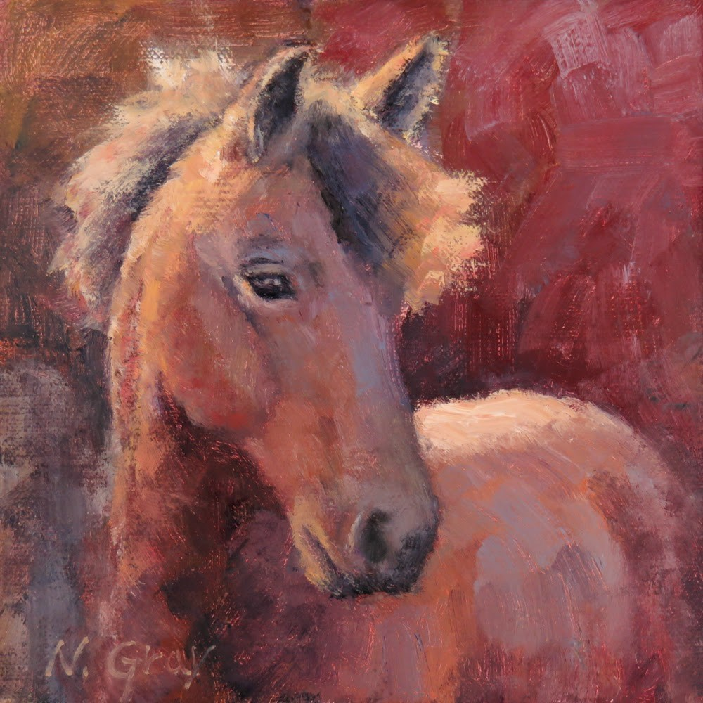 """Horse in Red"" original fine art by Naomi Gray"