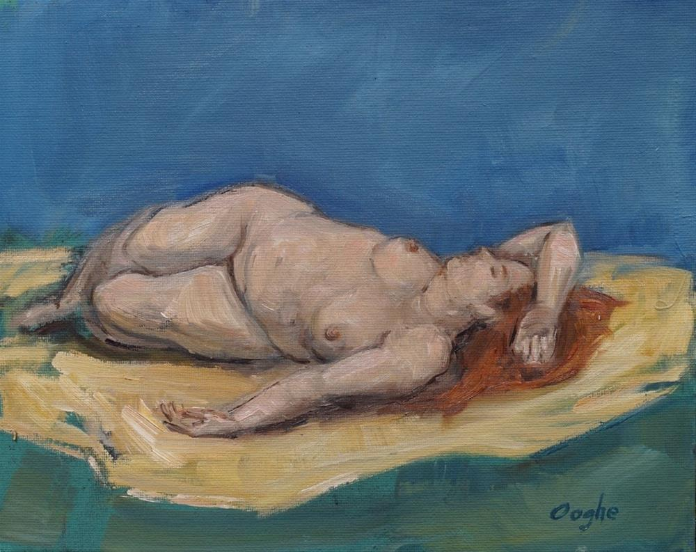 """Nude Reclining on Yellow"" original fine art by Angela Ooghe"
