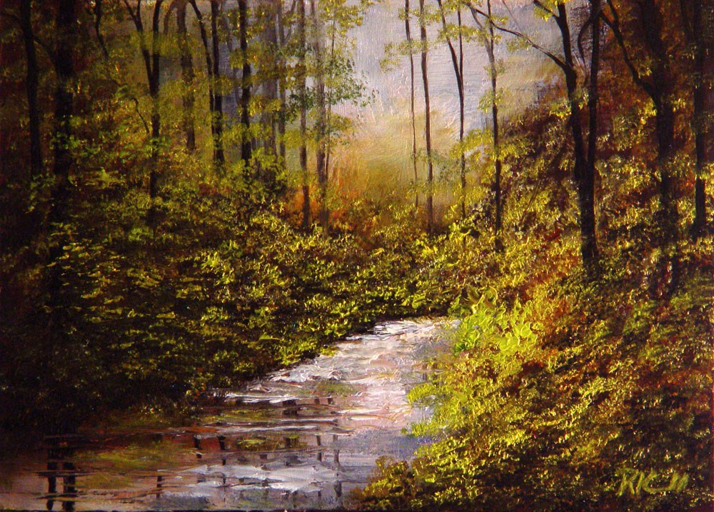 """Hidden Stream in the Woods"" original fine art by Bob Kimball"