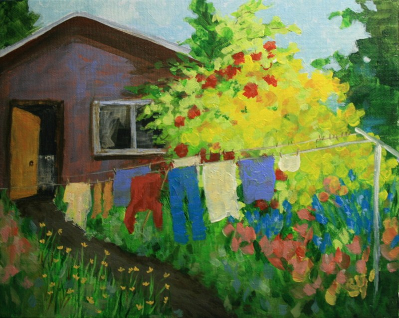 """Yellow Azaleas and the Old Wash House"" original fine art by Jean Nelson"
