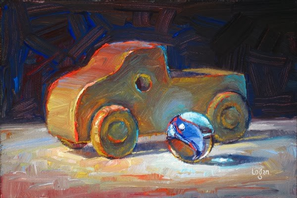 """Toy Wood Truck and Marble"" original fine art by Raymond Logan"