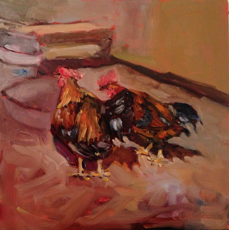 """""""Feed Dish is Empty, Day 24"""" original fine art by Claudia L Brookes"""