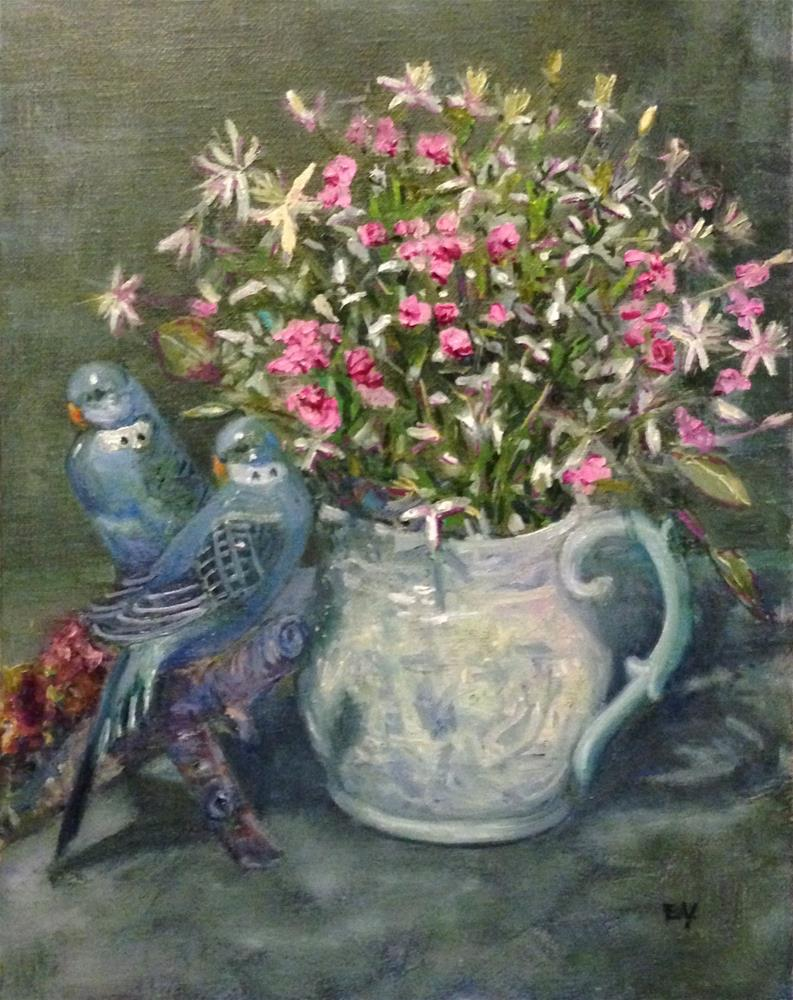 """SWEET WILLIAM WITH PARAKEETS"" original fine art by barbara yongue"